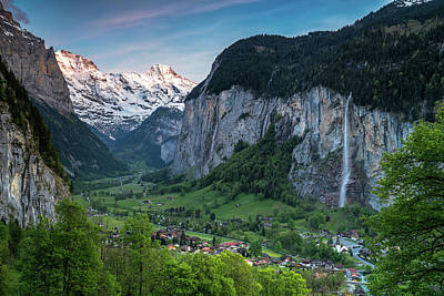 Sunset Above The Lauterbrunnen Valley Poster by James Udall