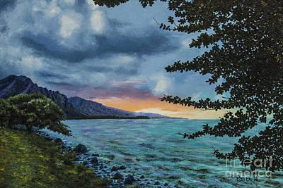 Sunset Across Kahana Bay Poster by Pati O'Neal