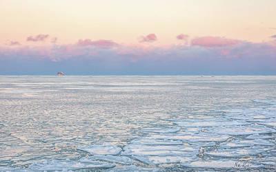 Sunset Across The Frozen Lake Poster