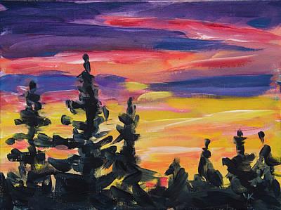 Poster featuring the painting Sunset Alaska by Yulia Kazansky