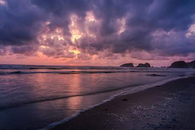 Sunset Along Beach On Oregon Coast Poster
