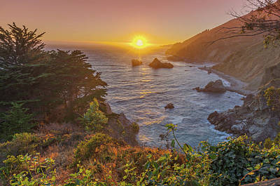 Sunset Along Highway 1 Big Sur California Poster