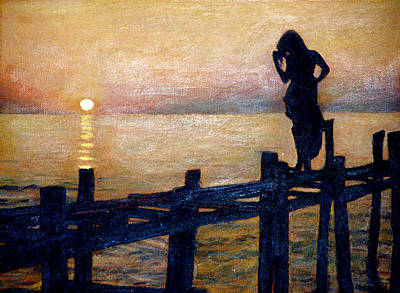 Sunset And Girl Poster
