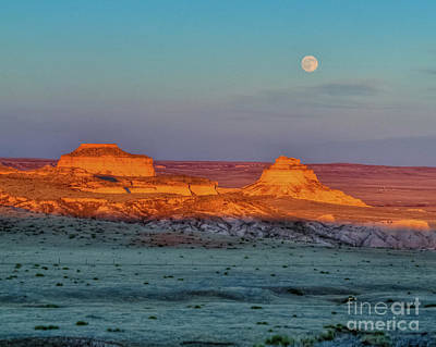 Sunset And Moon-rise Over Pawnee Buttes Poster