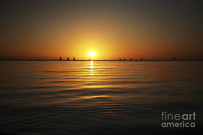Sunset And Sailboats Poster by Brandon Tabiolo - Printscapes