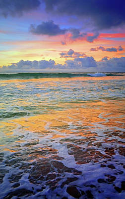 Poster featuring the photograph Sunset And Sea Foam by Tara Turner