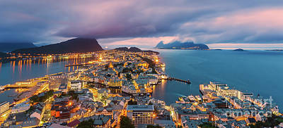 Sunset At Alesund, Norway Poster by Henk Meijer Photography
