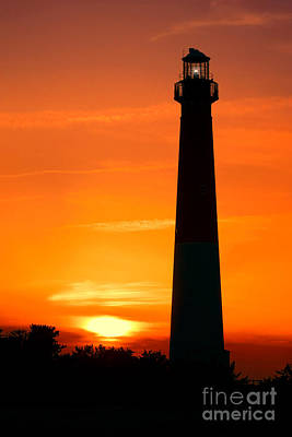 Sunset At Barnegat Lighthouse Poster by Olivier Le Queinec