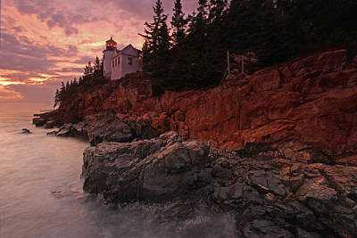Sunset At Bass Harbor Head Lighthouse Poster
