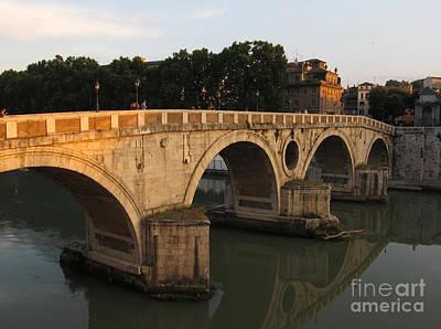 Sunset At Bridge Ponte Sisto In Rome Poster by Kiril Stanchev