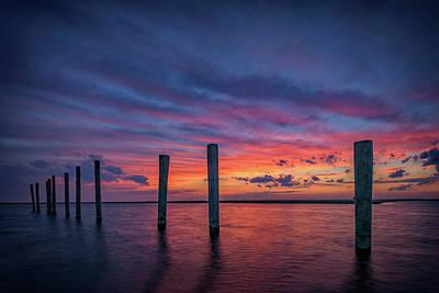 Sunset At Cedar Beach Marina Poster by Rick Berk