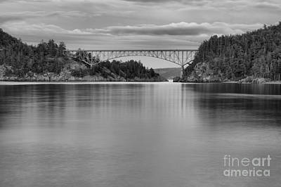 Sunset At Deception Pass - Black And White Poster