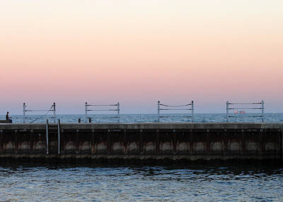 Sunset At Diversey Harbor Poster
