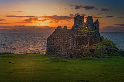 Sunset At Dunure Castle Poster