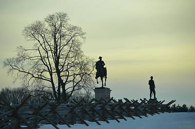 Sunset At Gettysburg In Winter Poster by Bill Cannon
