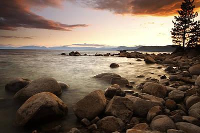 Sunset At Hidden Beach Poster