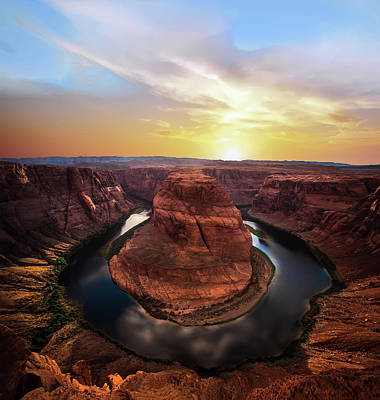 Sunset At Horseshoe Bend Poster by Larry Marshall