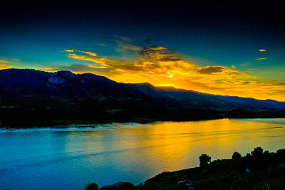 Sunset At Horsetooth Reservoir Poster