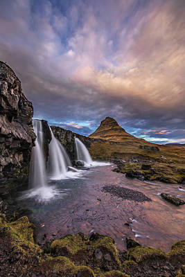 Poster featuring the photograph Sunset At Kirkjufellsfoss by Roman Kurywczak