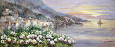 Sunset At Lake Como Poster by Lucio Campana