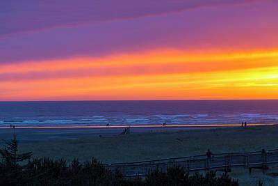 Sunset At Long Beach Washington Poster