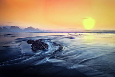 Sunset At Low Tide Poster