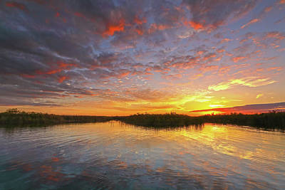 Sunset At Loxahatchee National Wildlife Refuge Near Florida Boyton Beach Poster by Juergen Roth