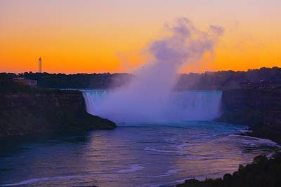 Sunset At Niagra Poster by Edward Johnston