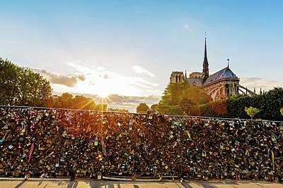 Sunset At Notre Dame De Paris Poster