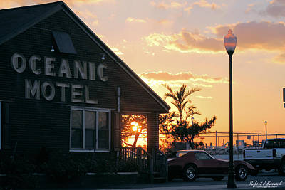Sunset At Oceanic Motel Poster