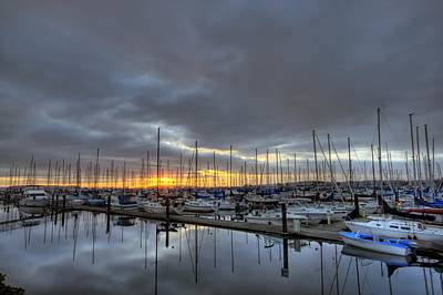Sunset At Port Gardner Poster