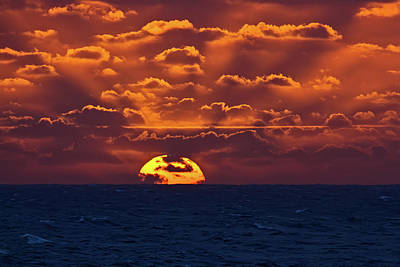 Poster featuring the photograph Sunset At Sea Part Two by John Haldane