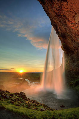 Sunset At Seljalandsfoss Poster by Peter OReilly