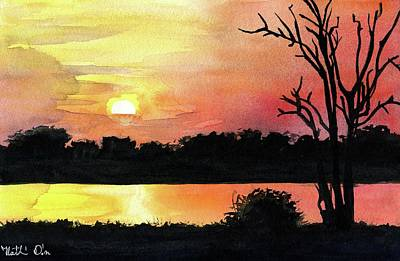 Poster featuring the painting Sunset At Shire River In Malawi by Dora Hathazi Mendes