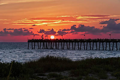 Poster featuring the photograph Sunset At The Fishing Pier   -   Fishingpier121662 by Frank J Benz