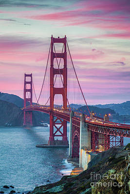 Sunset At The Golden Gate Poster