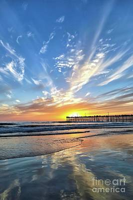 Sunset At The Pismo Beach Pier Poster by Vivian Krug Cotton