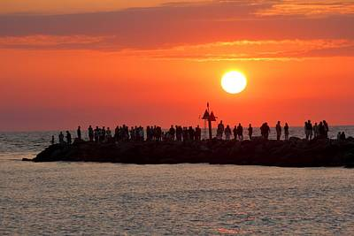 Sunset At The South Jetty, Venice, Florida, Usa Poster