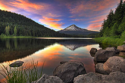 Sunset At Trillium Lake With Mount Hood Poster