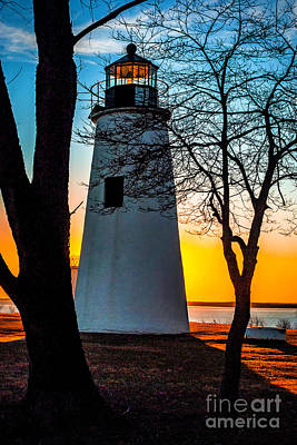 Poster featuring the photograph Sunset At Turkey Point Lighthouse by Nick Zelinsky