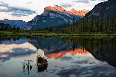 Poster featuring the photograph Sunset At Vermillion Lakes, Banff Canada 2 by Dave Dilli