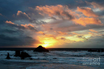 Sunset Bandon By The Sea Poster by Bob Christopher