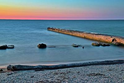 Poster featuring the photograph Sunset Beach On Lake Erie by Frozen in Time Fine Art Photography