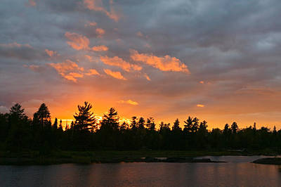 Sunset Behind Silhouetted Forest, Lake Poster by Panoramic Images