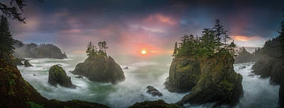 Sunset Between Sea Stacks With Trees Of Oregon Coast Poster