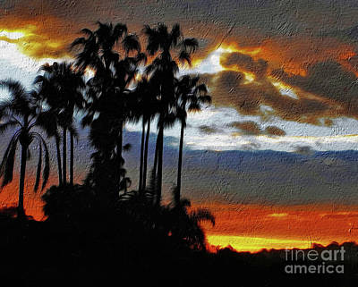 Sunset Beyond The Palms Poster by Kaye Menner