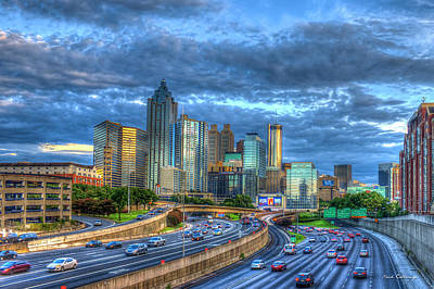 Poster featuring the photograph Sunset Blue Glass Reflections Atlanta Downtown Cityscape Art by Reid Callaway