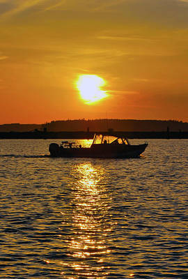 Sunset Boat Poster