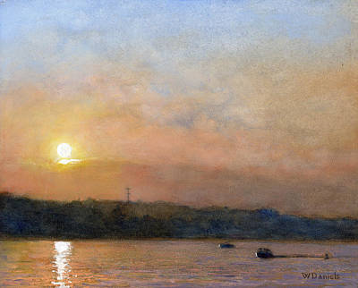Poster featuring the painting Sunset- Cazenovia Lake by Wayne Daniels