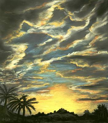Poster featuring the painting Sunset Clouds by Anastasiya Malakhova